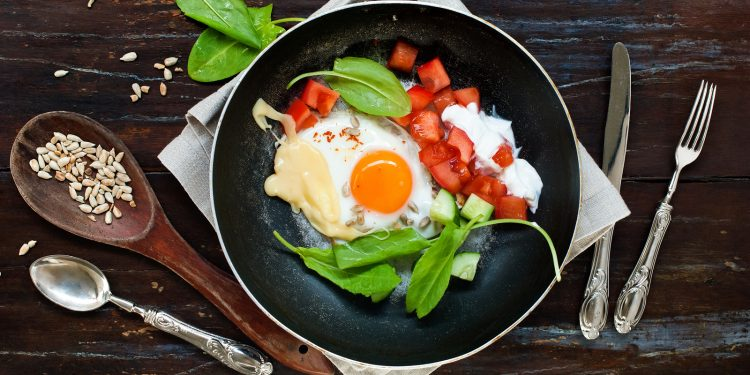 Fried Eggs Frying Pan Tomatoes Cheese Greens